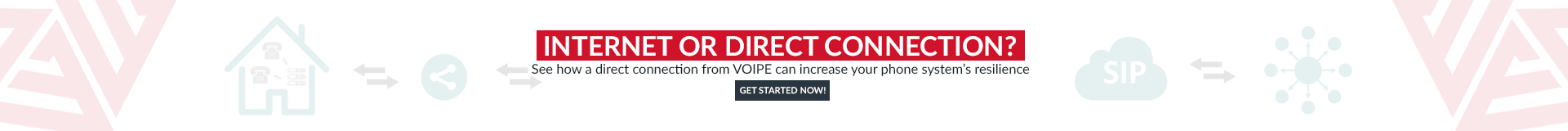 Take a look at our cloud telephone system connection options. VOIPE can provide direct connection options to suit all budgets